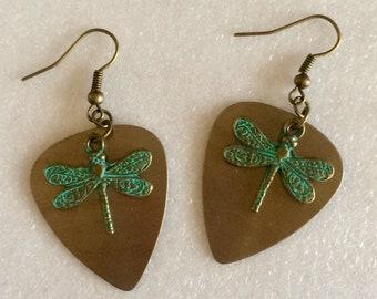 Dragonfly copper guitar pick earrings