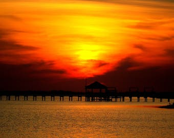 Digital download, nature, sunset, dock, home decor, bay, Nags Head, North Carolina
