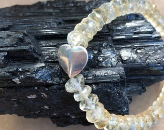 Grade A Natural Faceted Citrine & Sterling Silver Heart Accent Bracelet