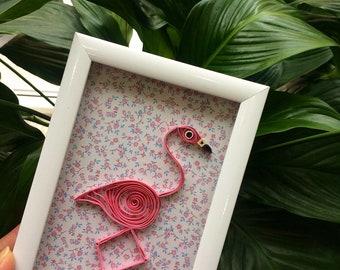Flamingo frame quilling art