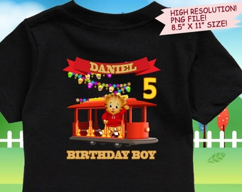 Daniel Tiger Iron On Transfer. Daniel Tiger Birthday Shirt DIY. Daniel Tiger Printable Decal Design. Birthday Shirt DIY. DIgital Files.