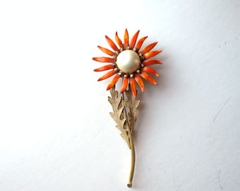"huge vintage enamel flower brooch . large dandelion pin brooch with rhinestones . 5"" tall"