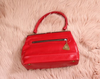 bright red vintage JR purse, structured purse with top handle . red vinyl purse 60s 70s