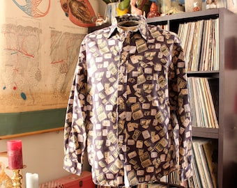 mens long sleeve button down, classic novel book print shirt . mens size large xl, long tail . cotton novelty print shirt