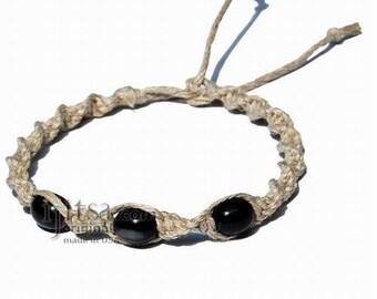 Natural twisted hemp black resin beads surfer style Bracelet or Anklet