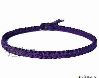 Dark Purple Flat Hemp Wide Surfer Style Choker Necklace