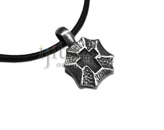 Adjustable leather cord necklace pewter Cross Shield pendant