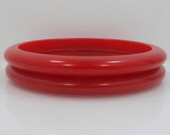 Two Red Bakelite Bangle Bracelets