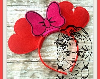 VaLENTINE HeART Inspired Character (3 Piece) Mr Miss Mouse Ears Headband ~ In the Hoop ~ Downloadable DiGiTaL Machine Emb Design by Carrie
