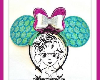 MeRMAID SCaLES Double BOW Character (3 Piece) Mr Miss Mouse Ears Headband ~ In the Hoop ~ Downloadable DiGiTaL Machine Emb Design by Carrie