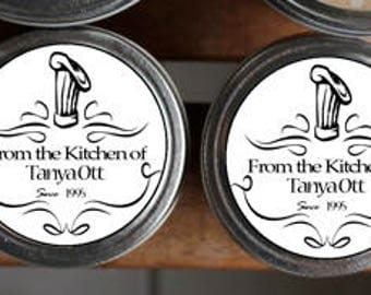"Custom Kitchen Labels Personalize 12 Round 2"" inch Circle Labels Avery Compatible Jar Label Canning"