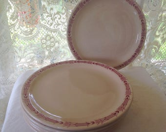 Mayer Arrowhead China Restaurant Dinner Plates Maroon Tan Classic Roadside American Diner Dishes 1940s