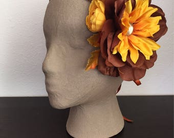 Hayride - Bronze and Yellow Asymmetrical Floral Fairy Crown
