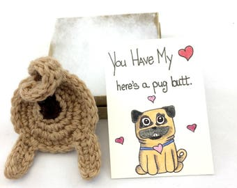 Mother's Day Gifts, Pet  Keychain, Pug Keychain Gift, Dog Lover Gift, Love Pug Card, Fawn or Black Pug