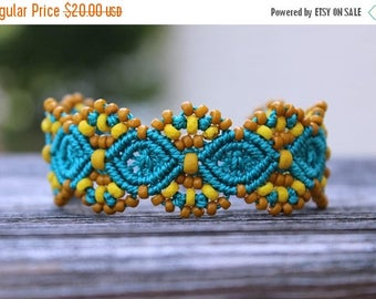 SUMMER SALE Micro-Macrame Beaded Cuff Bracelet - Teal and Gold