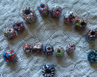 16 Ornately Painted Rhinestoned Beads For Jewlery Making Polymer Clay Fabric And Paper Beads
