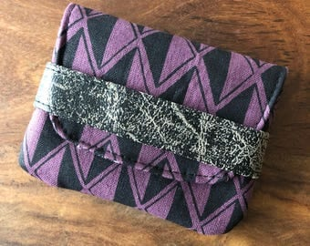 Card Case - Dark Plum Purple and Black Diamond
