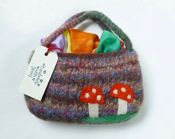Play silks fairy silks felted pouch set Waldorf inspired Rainbow silks ready to ship