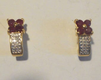 Ruby and Diamonds Vintage 14K Gold Earrings