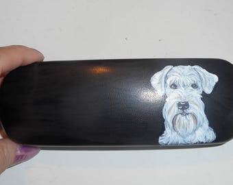 White Schnauzer Dog Custom Hand Painted Eyeglass Case Vegan