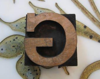 Letter G Antique Letterpress Wood Type Printers Block Wide