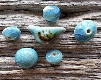 Set of 5 Handmade Corfu Blue Handmade Porcelain Ceramic Beads Made To Order
