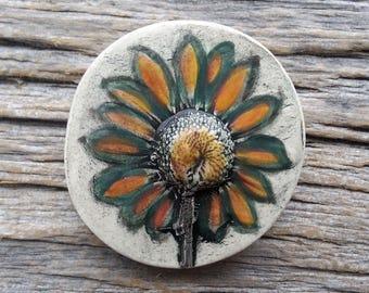 Handmade Ceramic Cabochon   Orange and Green Daisy   by Mary Harding