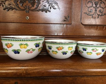 3 Villeroy and Boch Enamel Ware Nesting Bowls White Background Fruit Theme Large Medium and Small Metal and Enamel Mixing Bowls