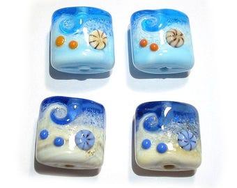Handmade glass Lampwork beads, Nugget Beach Beads,