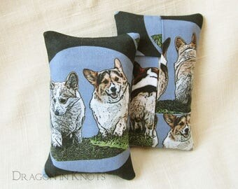 Corgi Pocket Tissue Holder for Bag - Grey and Blue Cotton Fabric, Small Tissue Cover for Purse, Dog Lover Gift, Handmade Accessory