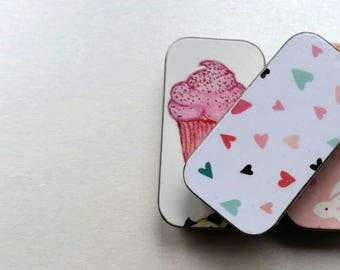Trio of mini keepers. . . Ice cream hearts and bunnies.