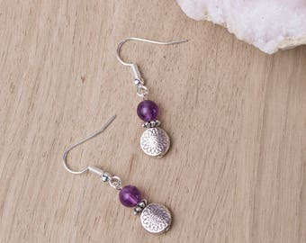 Amethyst silver earrings - purple gemstones with etched disk beads | Small dangle earrings | Amethyst jewellery | Purple stone boho jewelry