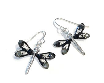 Dragonfly Earrings Sparkling Black and Grey