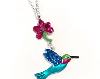 Hummingbird and Flower Colorful Necklace