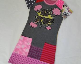 Size 10 upcycled girls dress, girls clothing, children's clothing, kids clothes, kidswear, girl, ,upcycling, kapow!, popart