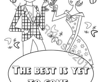the best is yet to come instant download coloring sheet - Hipster Coloring Book