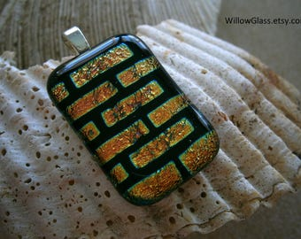 Dichroic Glass Pendant Sale, Pink and Black Brick House, Dichroic Jewelry, Fused Glass Pendant, Willow Glass
