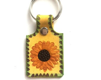Sunflower Stamped Leather Key Ring Small