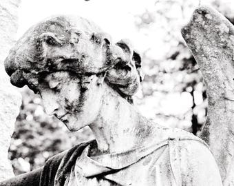 Black and White Cemetery Angel Photograph, art photography, cemetery art, gothic angel, black and white photography