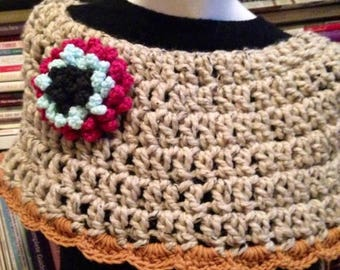 SALE Oatmeal Boho Crocheted Shawl Capelet Poncho with Statement Flower Brooch