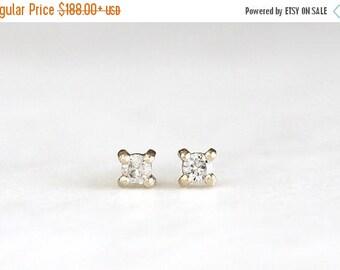 ON SALE 14k gold moissanite earrings, handmade, diamond earrings, studs