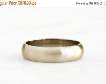 ON SALE 14k gold brushed half round band, recycled wedding band, eco friendly, handcrafted, recycled wedding ring