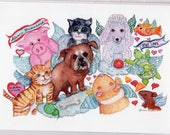 Pet loss card, Pet Sympathy card, Pet condolence card, dog, cats, pigs, guinea pig, fish, angels Watercolor Card from my original painting