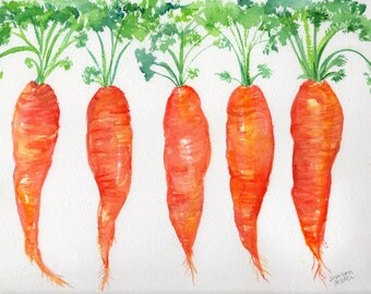 Carrots watercolor painting original vegetables 9 x 12 original watercolor painting bunch  carrots, Farmhouse kitchen decor