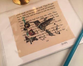 Hand printed blank greeting card original linocut inked art print up upcycled mixed media