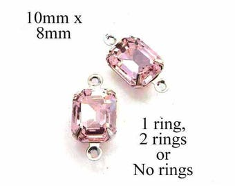 Light Pink Glass Beads - 10x8 Octagon in Silver or Brass Settings - Rhinestones - Glass Gems - Jewelry Supply - One Pair