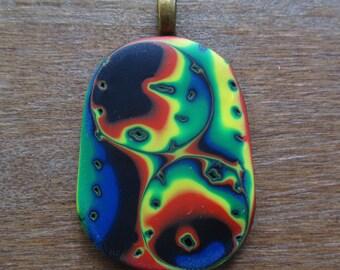 Rainbow Pride Mokume Gane Polymer Clay Pendant