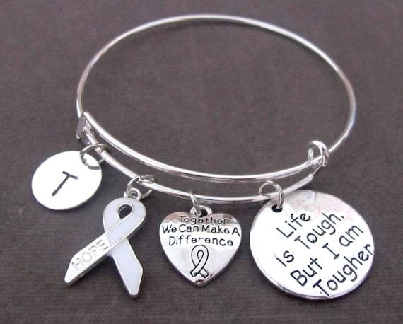 White Ribbon Awareness Bracelet,Blindness,Bone Cancer,Lung Cancer,Bone Disease,Osteoporosis, Postpartum Depression,Hernia, Free Shipping USA
