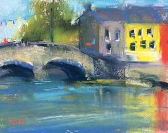 IRELAND Colorful Town River plein air  Landscape Original Pastel Painting Karen Margulis 5x7