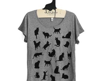 SALE Small -  Misprint Heather Gray Dolman Tee with Cat Pattern Screen Print